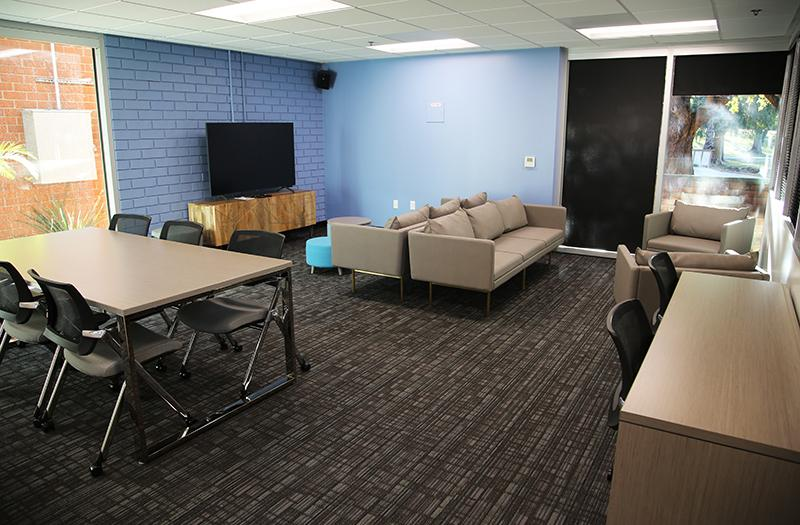 New furniture is in the space.