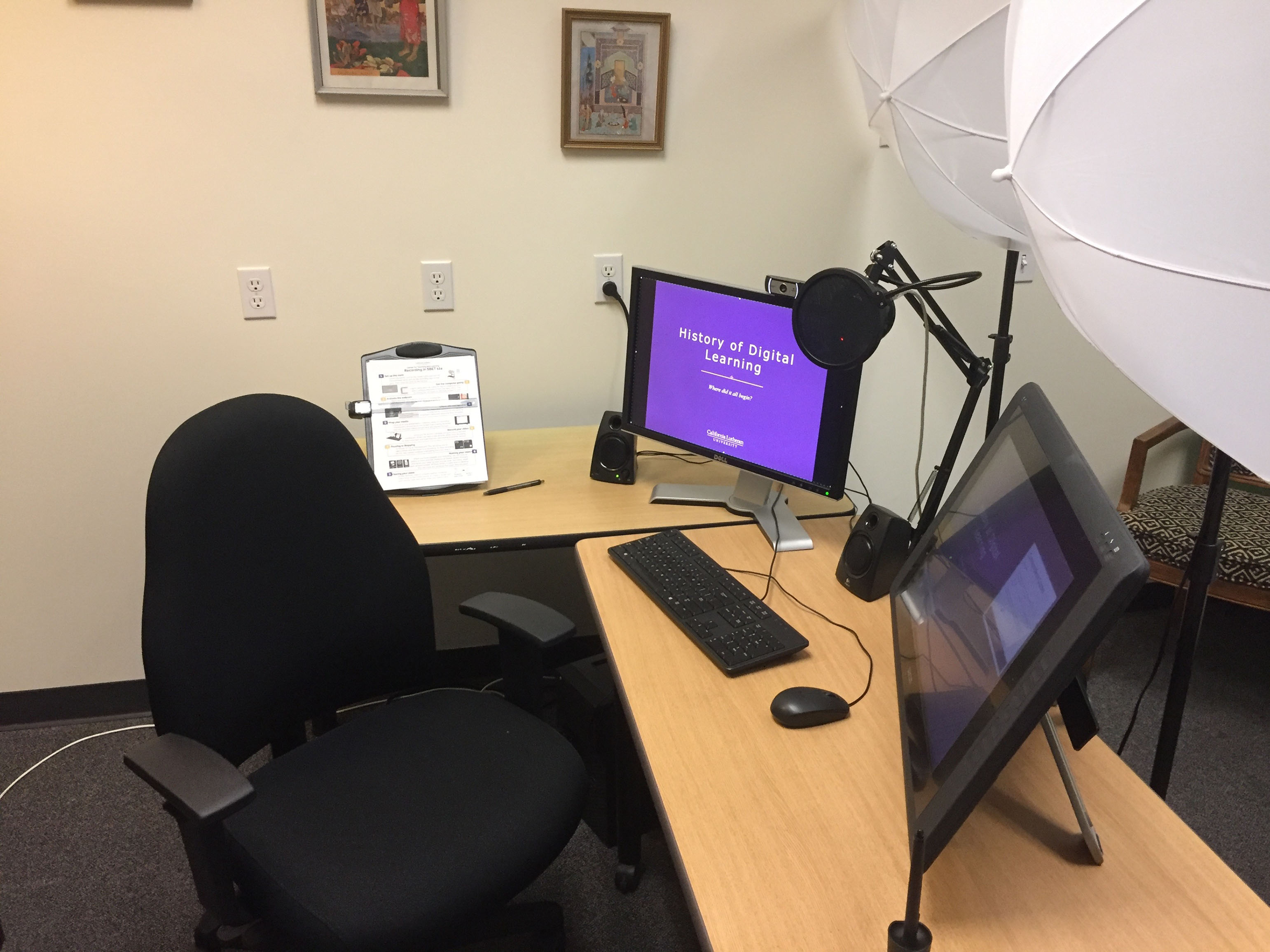 Center for Teaching and Learning recording studio